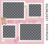 baby frames with boy girl and... | Shutterstock .eps vector #1334788703