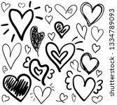 set of doodles hearts. grunge... | Shutterstock .eps vector #1334789093