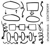 doodle set of black pencil... | Shutterstock .eps vector #1334789399