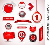 set of red vector progress step ... | Shutterstock .eps vector #133483970