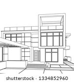 architectural drawing  modern... | Shutterstock .eps vector #1334852960