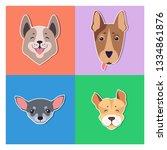 funny cartoon puppies... | Shutterstock . vector #1334861876