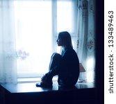 Sad Beautiful Girl At Home...