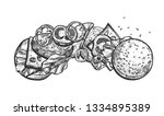 vector illustration of burger... | Shutterstock .eps vector #1334895389