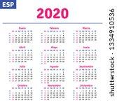 spanish calendar 2020 ...   Shutterstock .eps vector #1334910536