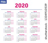 french calendar 2020 ... | Shutterstock .eps vector #1334910539