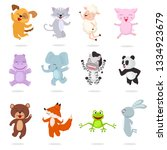 kids animals vector cartoon... | Shutterstock .eps vector #1334923679