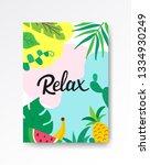 relax tropical poster a4. hand... | Shutterstock .eps vector #1334930249