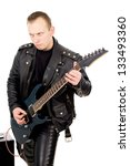 Rock Guitarist In Leather...