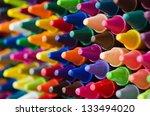 Close Up Set Of Crayons And Mi...