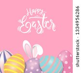 happy easter eggs sweet and kid ... | Shutterstock .eps vector #1334956286