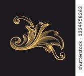 gold baroque ornament. retro... | Shutterstock .eps vector #1334958263