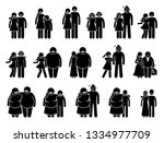 couple with different body... | Shutterstock .eps vector #1334977709