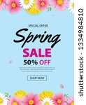 spring sale poster banner with... | Shutterstock .eps vector #1334984810