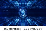 bitcoin currency sign in... | Shutterstock . vector #1334987189