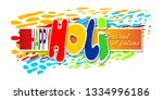 happy holi indian spring... | Shutterstock .eps vector #1334996186
