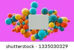flying spheres and box isolated ... | Shutterstock . vector #1335030329