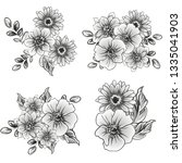 flowers set. collection of... | Shutterstock .eps vector #1335041903