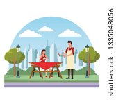 faceless woman barbecue food... | Shutterstock .eps vector #1335048056