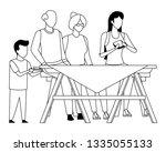 faceless family eating outdoor... | Shutterstock .eps vector #1335055133