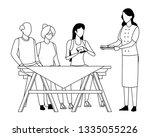 faceless family eating outdoor... | Shutterstock .eps vector #1335055226