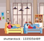 faceless people relax with pets ... | Shutterstock .eps vector #1335056489