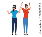 people playing with virtual... | Shutterstock .eps vector #1335062096
