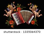 embroidery two angels ... | Shutterstock .eps vector #1335064370
