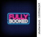 fully booked neon text vector... | Shutterstock .eps vector #1335066269