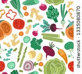 vegetables seamless pattern.... | Shutterstock .eps vector #1335080870