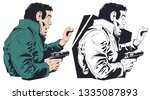 stock illustration. frightened... | Shutterstock .eps vector #1335087893