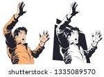 stock illustration. frightened... | Shutterstock .eps vector #1335089570