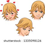 a set of emotions by a cute... | Shutterstock .eps vector #1335098126