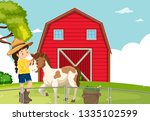 a girl with horse at farmland... | Shutterstock .eps vector #1335102599
