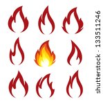 collection of fire icons | Shutterstock .eps vector #133511246