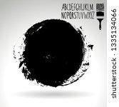 black brush stroke and... | Shutterstock .eps vector #1335134066