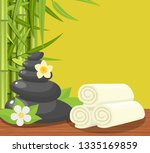 spa concept poster with towels  ...   Shutterstock . vector #1335169859