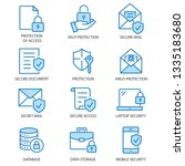 data security flat line icons.... | Shutterstock .eps vector #1335183680