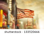 tattered american flag blowing... | Shutterstock . vector #133520666