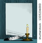 paper sheet with a candle and... | Shutterstock .eps vector #1335236003