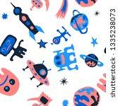 seamless sci fi background.... | Shutterstock .eps vector #1335238073