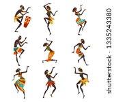 african people dancing folk or... | Shutterstock .eps vector #1335243380