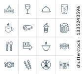 restaurant icons set with table ... | Shutterstock .eps vector #1335243596