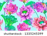 tropical flowers  leaves  pink... | Shutterstock . vector #1335245399