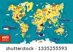 flat illustration of world map...   Shutterstock . vector #1335255593