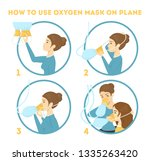 how to use oxygen mask on the... | Shutterstock .eps vector #1335263420