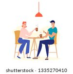 Stock vector loving couple dating in cafe man and woman character drinking coffee at cafeteria table happy 1335270410