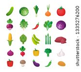 vector vegetables icons set in... | Shutterstock .eps vector #1335276200