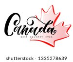 hand lettering canada logo with ... | Shutterstock .eps vector #1335278639