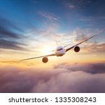 Commercial Airplane Flying Over Dramatic - Fine Art prints